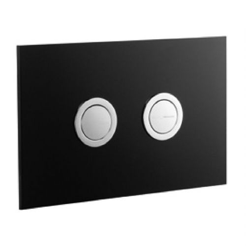 Abacus Lustrolite Press Panel Glass Effect Dual Flush Plate - Carbon